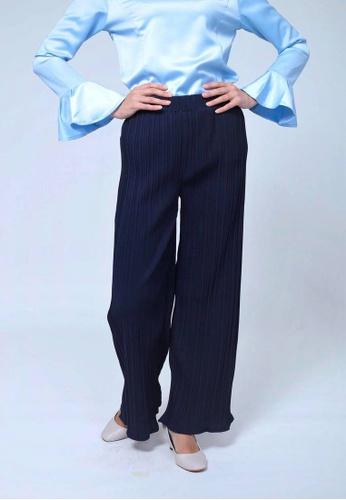 Emanuel Femme blue and navy Amelia Pleated Pants 38949AA8A14082GS_1