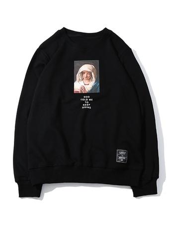 HAPPY FRIDAYS Virgin Mary Printed Hoodies UP875 8CC38AAFEB6716GS_1