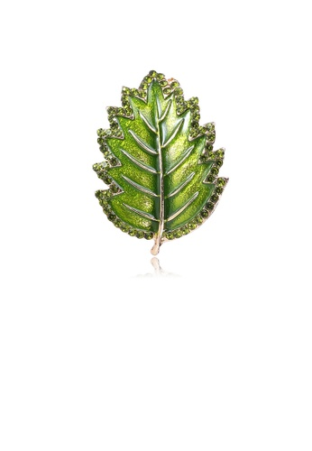 Glamorousky silver Fashion and Elegant Green Leaf Brooch with Cubic Zirconia D0E3BACF0D0473GS_1