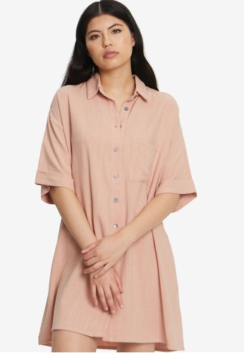 The Fated pink Finesse Relaxed Shirt Dress E443AAA0EB0E5FGS_1