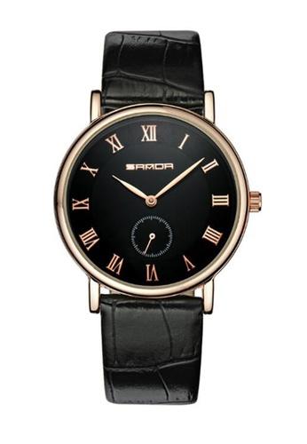 SANDA gold SANDA P187 Luxury Genuine Leather Black Band Date Display Quartz Watch for Men (Black Gold) SA708AC0RX1XMY_1