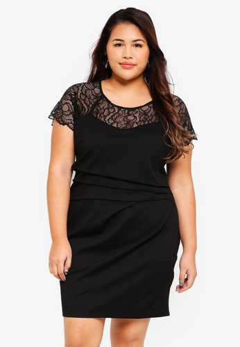 Only CARMAKOMA black Plus Size Muscovite Short Dress E05B3AAC067FDBGS_1