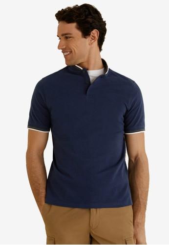MANGO Man navy Mao Collar Polo Shirt A1983AAB3F301AGS_1