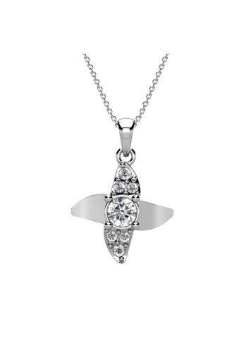Her Jewellery silver Zayna Pendant (White Gold) - Made with Premium grade crystals from Austria 3FBB8ACE4337D1GS_1