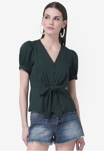 FabAlley green Buttoned Front Tie Up Top 18A66AAD31B734GS_1