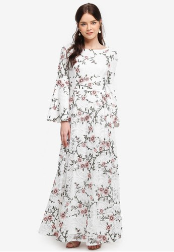 harga Embroidered Lace Flare Sleeve Fit & Flare Dress Zalora.co.id