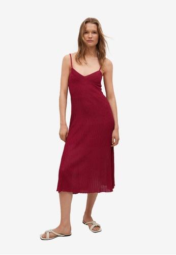 Mango 紅色 Ribbed Jersey Dress F51A8AAF0B92BBGS_1