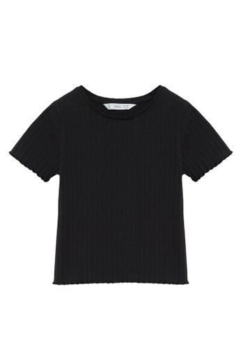 MANGO KIDS black Ribbed Cotton T-Shirt 99A17KA60DFAE4GS_1