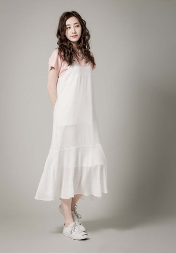 H:CONNECT white Lotus Leaf Dress 4258EAA3592743GS_1