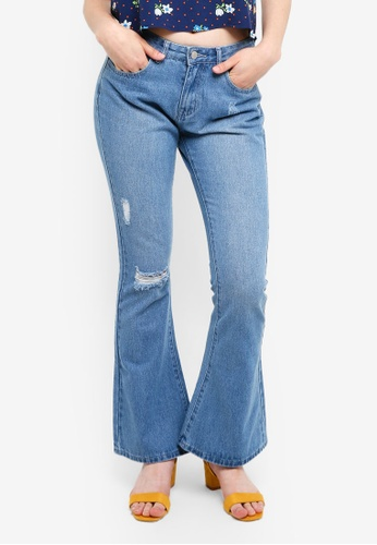 Something Borrowed blue Distressed Bell Bottom Jeans 12CA1AA9E4FC21GS_1