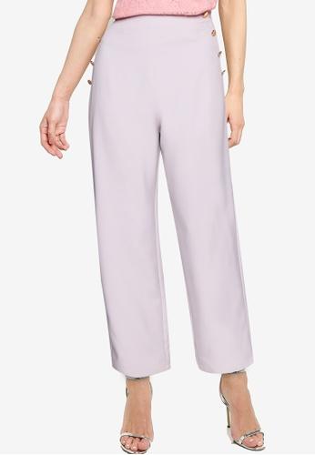 ZALORA OCCASION grey Button Detail Straight Pants 92244AAC797B07GS_1