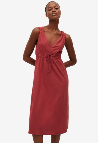 Mango red Elastic Waist Dress CB219AAF1A8A0BGS_1