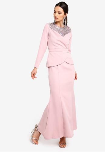 Zalia pink Heart Neckline Wrap Dress B0274AA1D7850EGS_1