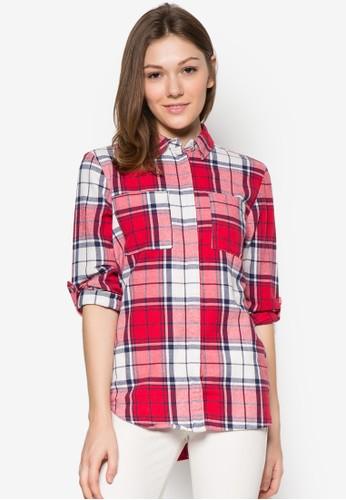 格紋長袖襯衫zalora 衣服評價, 服飾, 服飾