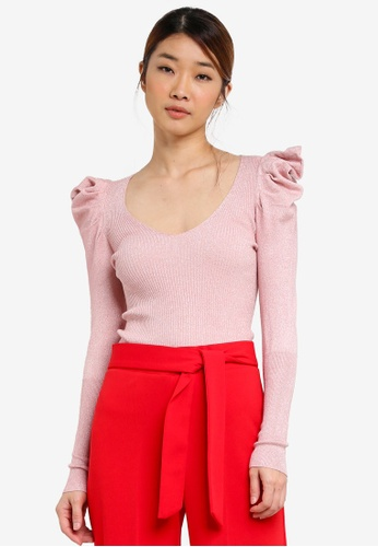 Miss Selfridge pink Puff Shoulder Metallic Ribbed Knitted Top MI665AA0SHUZMY_1