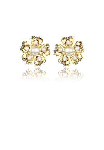 Glamorousky white Elegant Romantic Sweet Gold Plated Flower Non Natural Pearl Earrings Ear Studs E0680AC64436FFGS_1