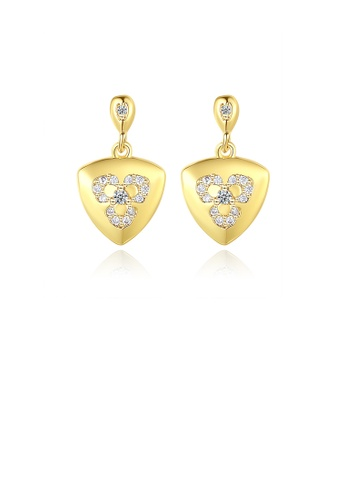 Glamorousky white Simple and Fashion Plated Gold Geometric Triangle Stud Earrings with Cubic Zirconia 6A158ACF7931D1GS_1