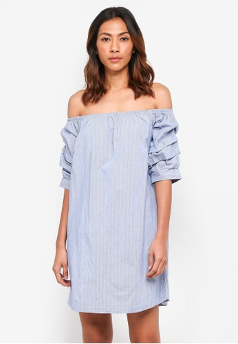 ONLY blue Shell 2/4 Off Shoulder Puff Dress 27626AAFE453BFGS_1