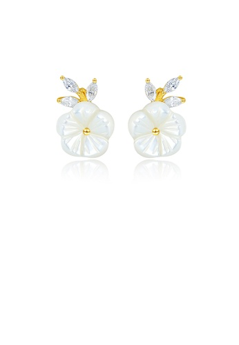 Glamorousky white 925 Sterling Silver Plated Gold Simple and Elegant Flower Stud Earrings with Cubic Zirconia EBAB3AC192E581GS_1
