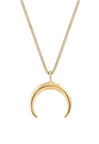 ELLI GERMANY gold Elli Germany Crescent Moon Luna Astro 925 Silver Gold Plated Necklace EL474AC0S1Z5MY_1
