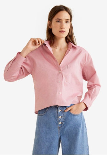 Mango red Cropped Cotton Shirt A4793AA671F942GS_1