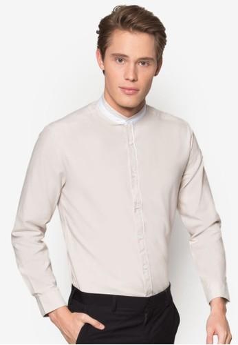 撞色中式領長袖襯衫、 服飾、 襯衫NINE2FIVE撞色中式領長袖襯衫最新折價