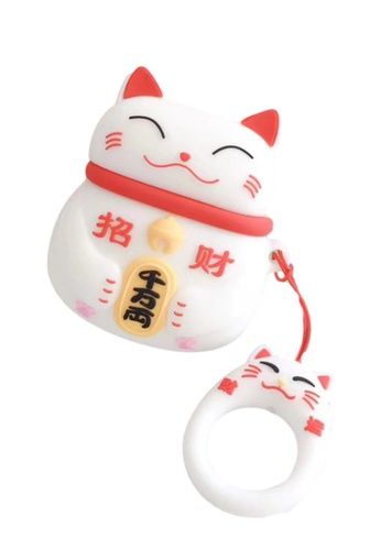 Kings Collection white White Japanese Lucky Cat AirPods Case (KCAC2114) 6C4ECAC6D903ABGS_1
