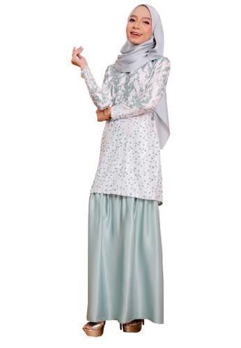 SARIMA white and green and blue Glam Kurung Modern Muslimah Fashion Embossed Print Satin Dusty Mint Green 0C7E1AA7DA60A4GS_1