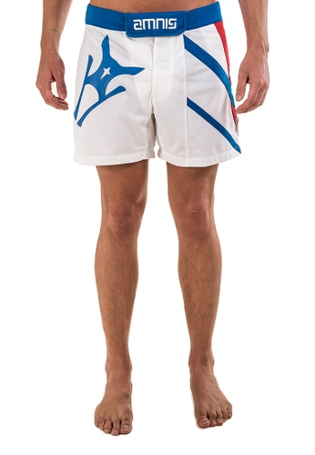 """AMNIG white Amnig Men Performance Fighter Shorts-15"""" White Blue 90370AA6A6A370GS_1"""