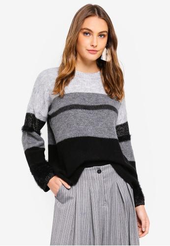 Sisley grey Stripped Sweater 5415BAA612DAF3GS_1
