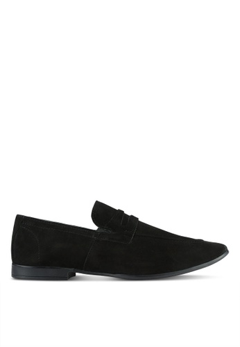 ZALORA black Suede Leather Penny Loafers E19A1SHB3AE95CGS_1