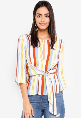 Miss Selfridge beige Multi Stripe Tie Side Top BD4F2AA147CD23GS_1
