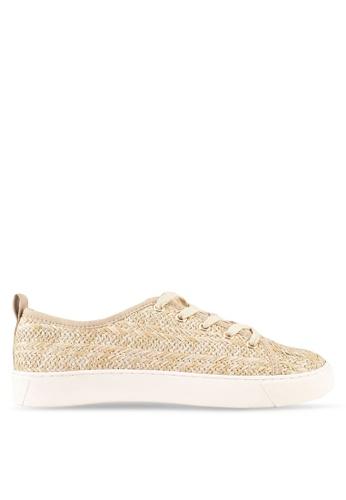 ZALORA 米褐色 Raffia Detail Sneakers 92370SHC9D3A89GS_1