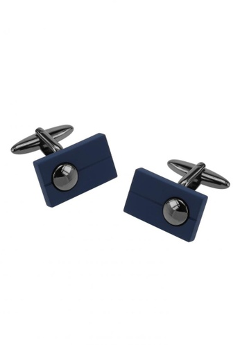 CUFF IT blue Matt Blue Enamel Gunmetal Cufflinks CU047AC85BUGHK_1