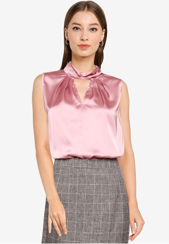 ZALORA OCCASION pink Knot Detail Top E56EFAA117FB58GS_1