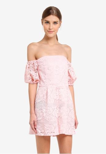 Miss Selfridge pink Cny Pink Lace Bardot Playsuit MI665AA0STCIMY_1