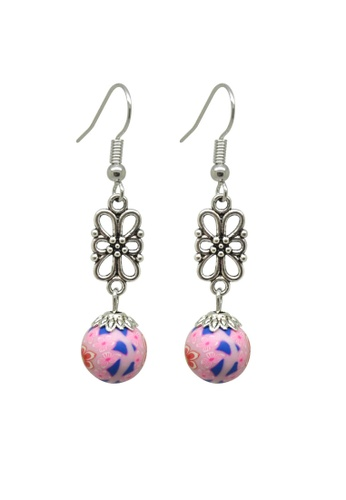 Fur Nyce pink Polymer Floral Print Earrings DD90FAC45B8E95GS_1