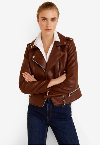 Mango brown Applique Biker Jacket F29F1AA20A2422GS_1