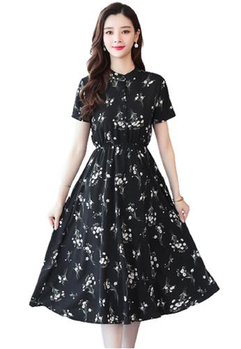 Halo black Floral Printed Chiffon Dress EE1BFAA8FD672BGS_1