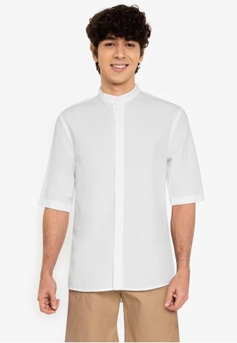 ZALORA BASICS white ¾ Sleeve Grandad Shirt 3B2CEAAA14DA45GS_1