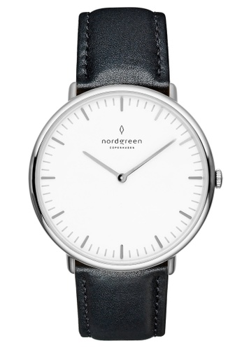 Nordgreen black and silver Nordgreen Native Silver 40 mm - Black Leather Watch 88AE6AC157AF76GS_1