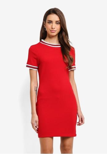 MISSGUIDED red Sports Stripe Trim Tshirt Dress 67C63AADA0CAD7GS_1