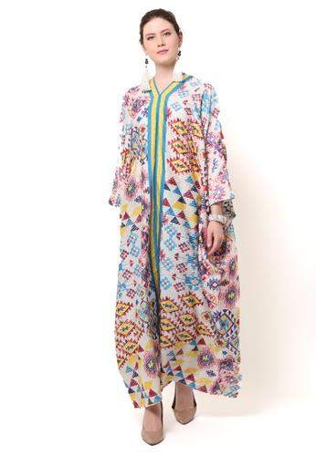 Kanzi by liza yahya multi Kanzi Long Sleeve Kaftan 808AEAAB3030D4GS_1