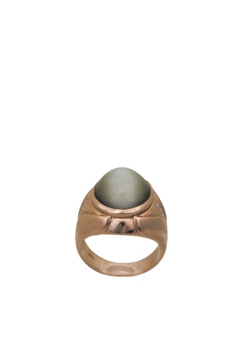 Tomei Rose Gold 375 9k Cat Eye Diamond Men Ring B60000023