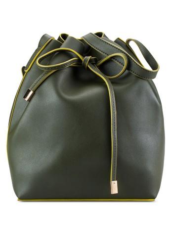 ZALORA Leather-Feel Drawstring Bucket Bag