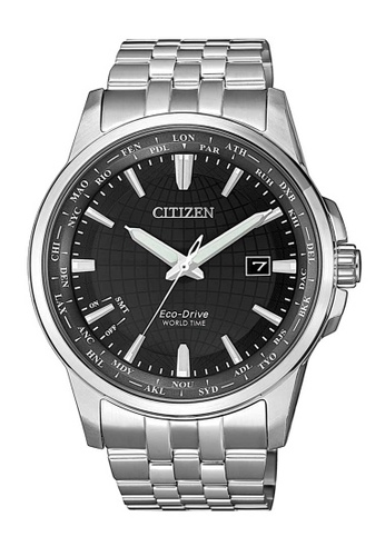 CITIZEN silver Citizen Eco-Drive World Time Black and Silver Stainless Steel Watch AD43BAC83AB39EGS_1