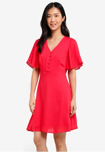 ZALORA red Fit & Flare Dress With Flared Sleeves 50463AAA72D88DGS_1