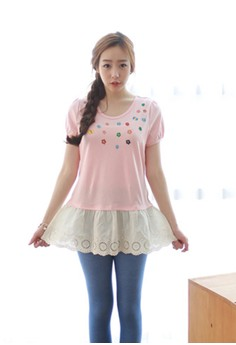 [EYECREAM] Layered Short Sleeve Top with Lace Ruff