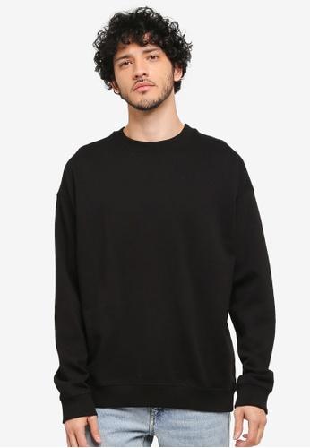 MANGO Man black Oversize Cotton Sweatshirt MA449AA0T1FGMY_1