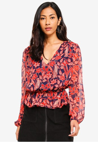 Glamorous multi Floral Print Ruffle Blouse 00E64AADECAB13GS_1